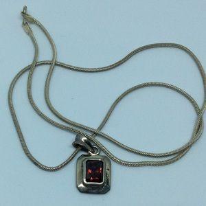 Jewelry - Dark Amber Glass Pendent 925    18 inch 9 grams